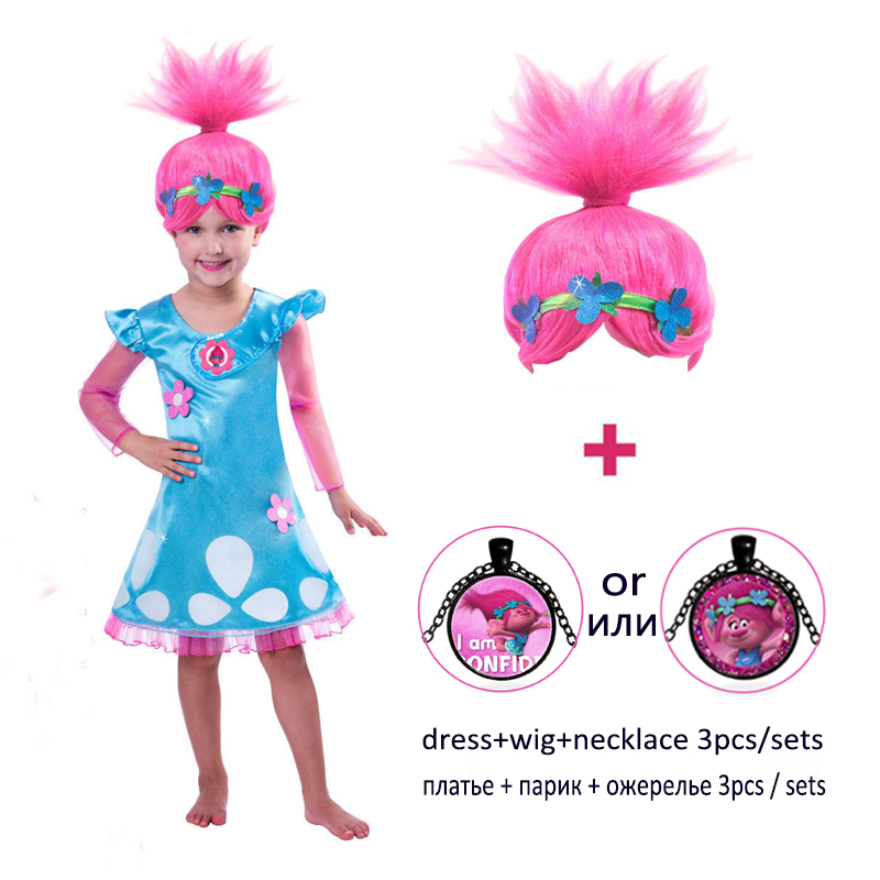 Amuybeen Girls Dresses Trolls Poppy Cosplay Costumes Bobo Choses Streetwear Halloween Clothes Kids Fancy Dress Girl Wig Necklace