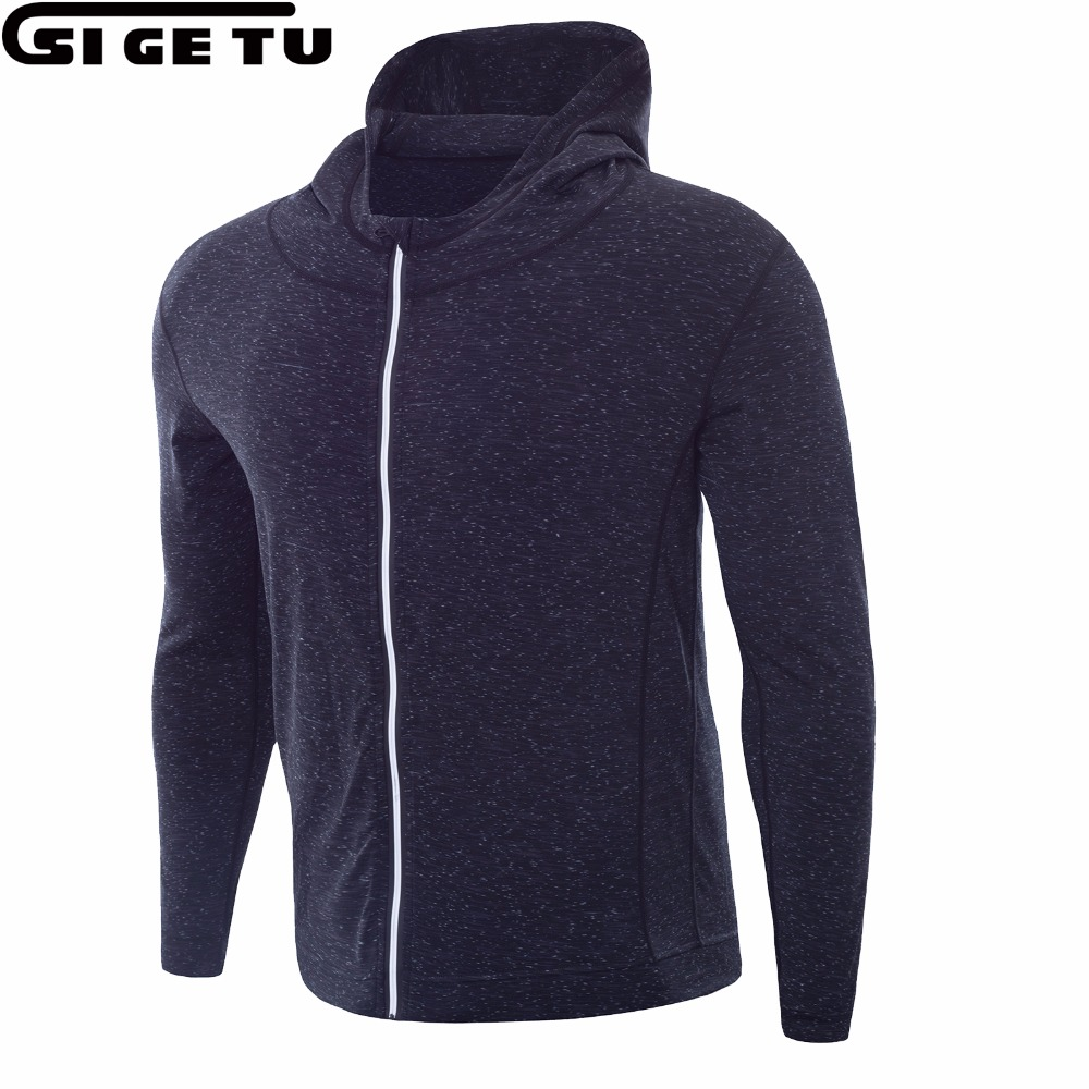 2018 New Men Running Running With a cap collar Jacket Fitness Exercise Outdoor Sports Jackets Football Training Gym Jogging