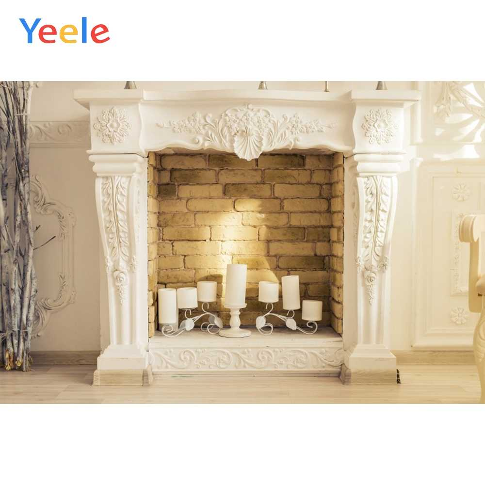 Yeele House Candle Fireplace Brick Interior Decor Photography Backgrounds Customized Photographic Backdrops for Photo Studio