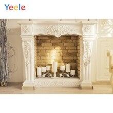 Yeele House Candle Fireplace Brick Interior Decor Photography Backgrounds Customized Photographic Backdrops for Photo Studio