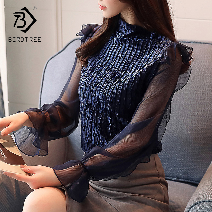 2018 Spring New Arrival Women Korean Style Slim Blouses & Shirts Lace Hollow Out Loose Stand-Collar Shirt Tops Hots Sale T83011L