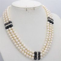 New 7 8mm Natural White&Black Freshwater Pearl long Necklace Beads Jewelry Making Stones Choker 3Rows Balls Women Girls Gifts
