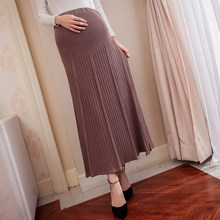 Autumn Winter Style Pregnant Women Knitted Skirt High Waist Velour Pleated Skirt Female Maternity dress elegant party skirts(China)