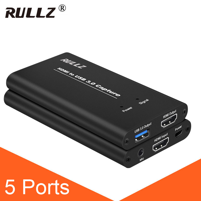 USB3.0 HDMI To USB 3.0 Video Capture Card 1080P Phone Conference Recording Box Game Live Streaming Broadcast W Mic Microphone In