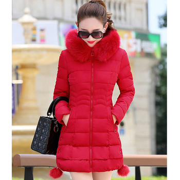 2019 Faux Fur Parkas Women Down Jacket Plus Size Womens Parkas Thicken Outerwear hooded Winter Coat Female Jacket Cotton padded 1
