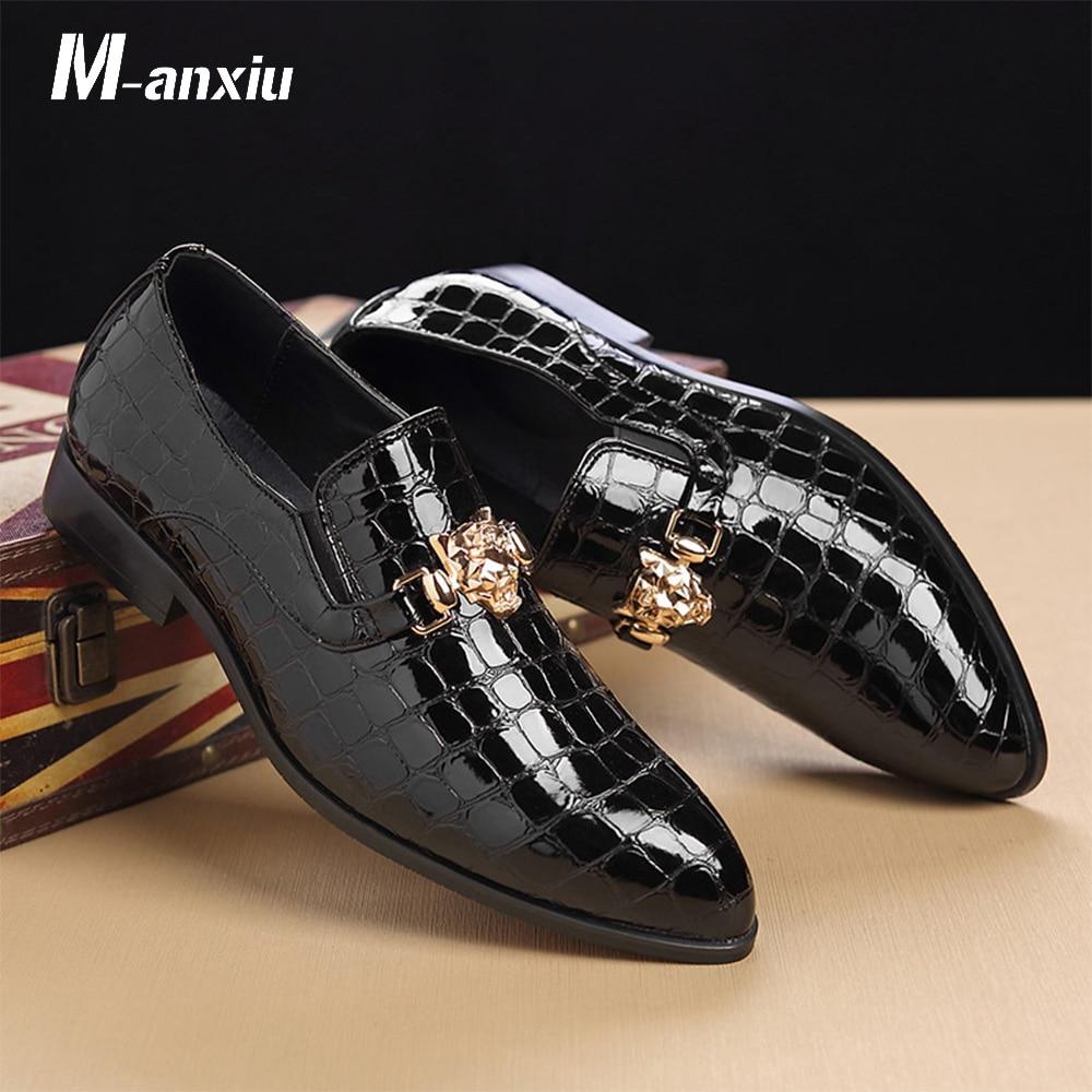 M-anxiu 2020 New Design Luxury Crocodile Grain Slip-On Oxfords Shoes Men Casual Fashion Pointed Toe Dress Shoes