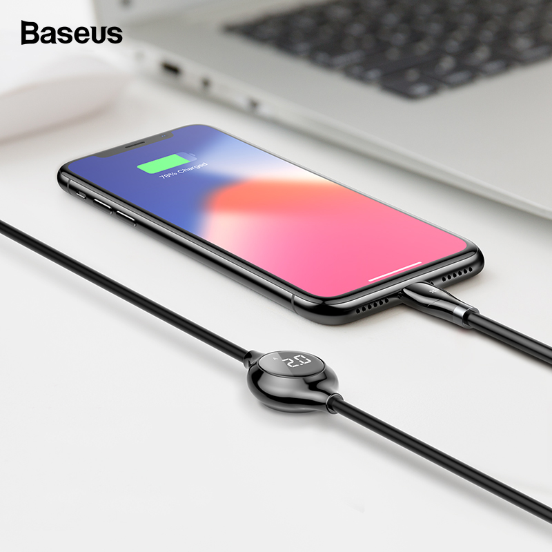 Baseus Digital Display USB Cable For iPhone Xs Max Xr X 8 7 6 6s Plus 5 5s Fast Data Charging Charger Cord Magnetic Sheet Cable-in Mobile Phone Cables from Cellphones & Telecommunications on AliExpress