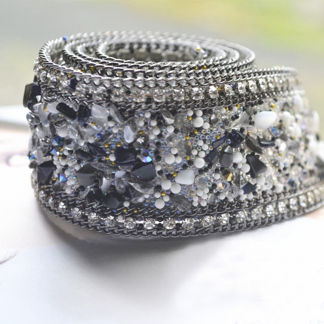 d0e37b4dce US $11.5 |Aliexpress.com : Buy High grade Rhinestone Materials Beaded Lace  Fabric Trim Wedding Dresses Decorative Waist Chain Applique Ironing/ Sew On  ...