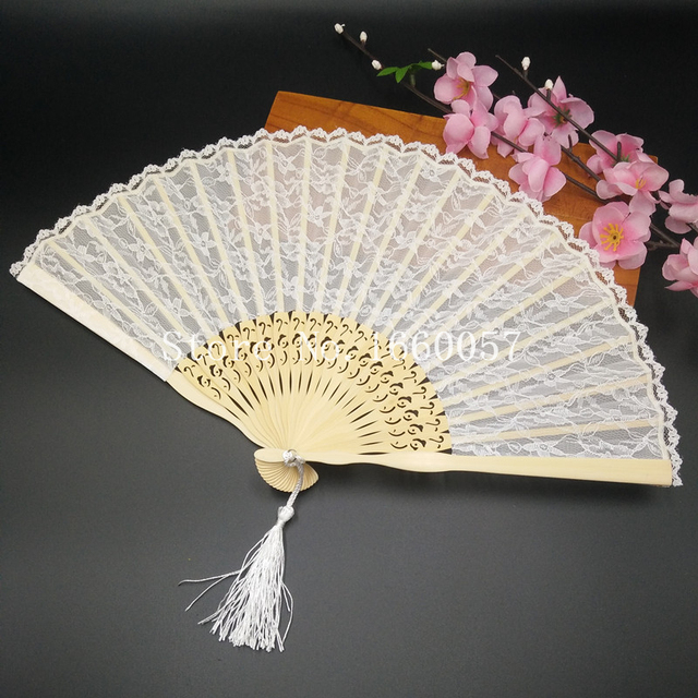 Wedding Favors Gift Spanish Victorian White Lace Hand Folding Fan Pocket Bride Party