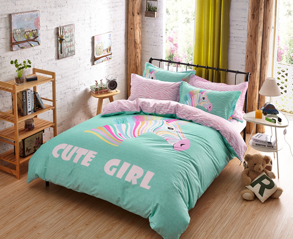 Colorful House Bed Cover Green Comforter Sets Zebra Print Bed Set Teen And Girls Bedding Set