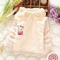 2014 outono inverno bebê da menina blusas babi criança camisola de malha de gola alta camisola pele camisola outerwear das crianças 3 cores