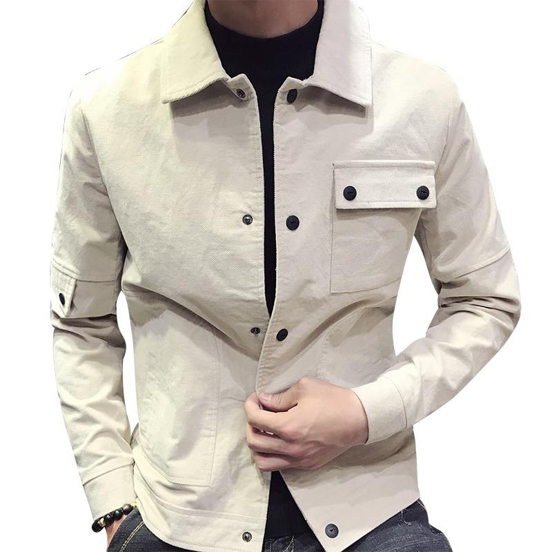 Men's Autumn Shirt 2018 New Personality tide Men's Corduroy jacket Korean Slim M XXXL jacket Color Black / Beige /Khaki