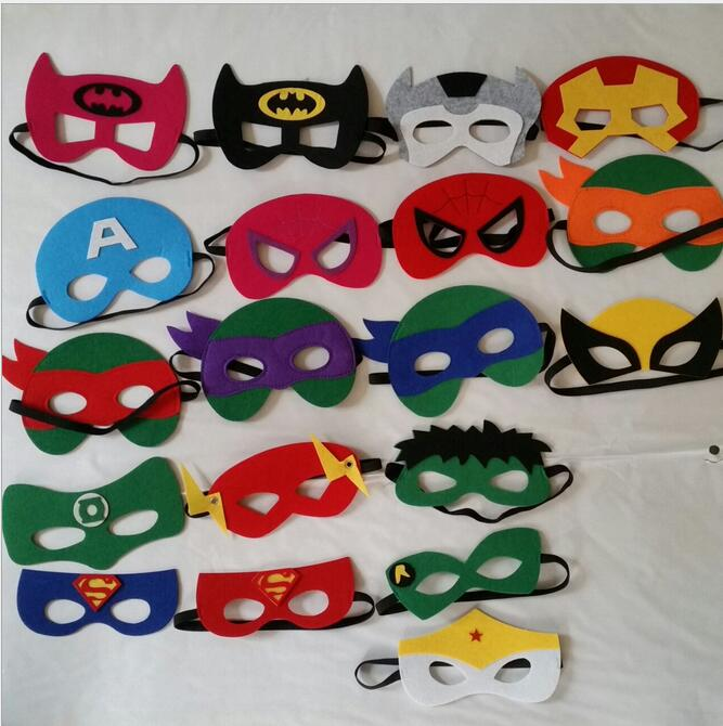 party pack 10pcslot superhero masks superman batman spiderman supergirl iron man halloween party decoration - Party Decoration Stores