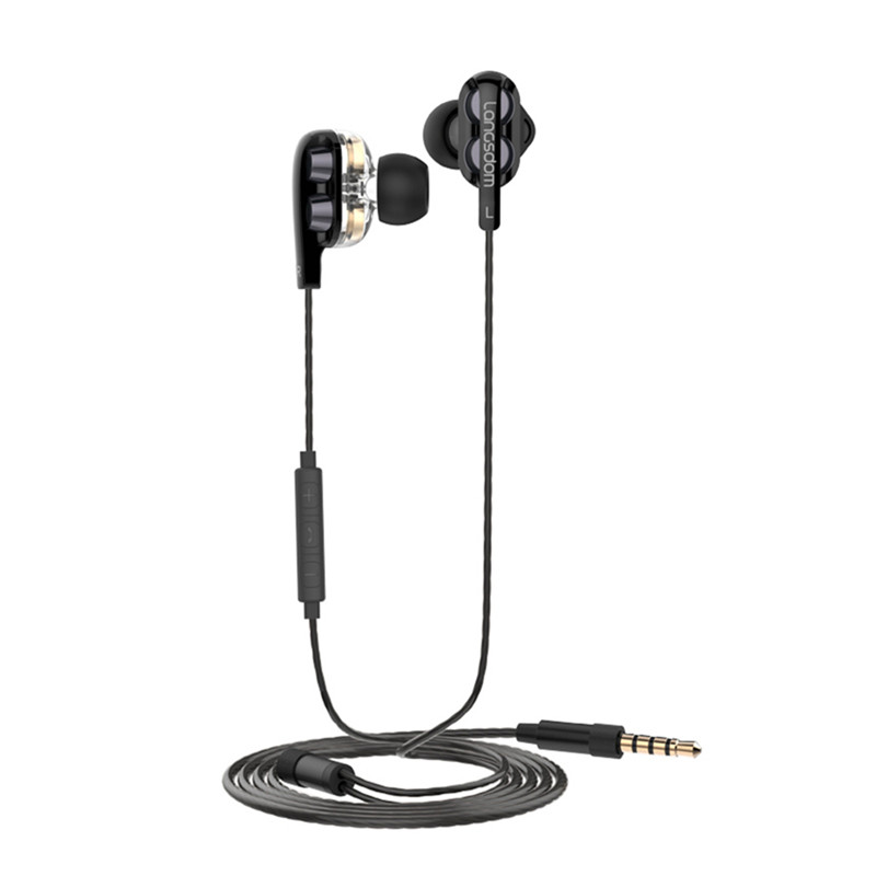 Descxz Earphones Dual Driver Head phone With Mic Gaming Headset mp3 DJ for Phone