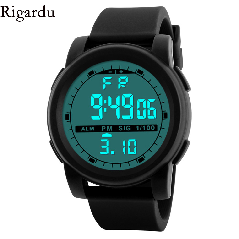 RIGARDU Sport Man Watch Fashion Waterproof Men Watch LED Digital Alarm Date Rubber Sport Male Wrist Watch #30 цена 2017