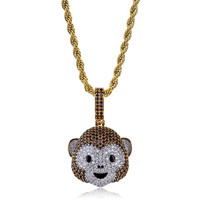 Lucky Sonny Funny Monkey Emoji Pendant Necklace Bijoux Gold Color Full CZ Iced Out Pendants & Necklaces Jewelry Christmas Gift