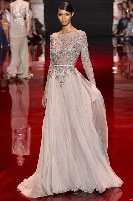 13162 New Arrival Elie Saab Lace Appliqued Beaded Long Sleeves Prom Dresses 2014 Long Evening Gowns Custom Made En Vestidos De Baile De Bodas Y