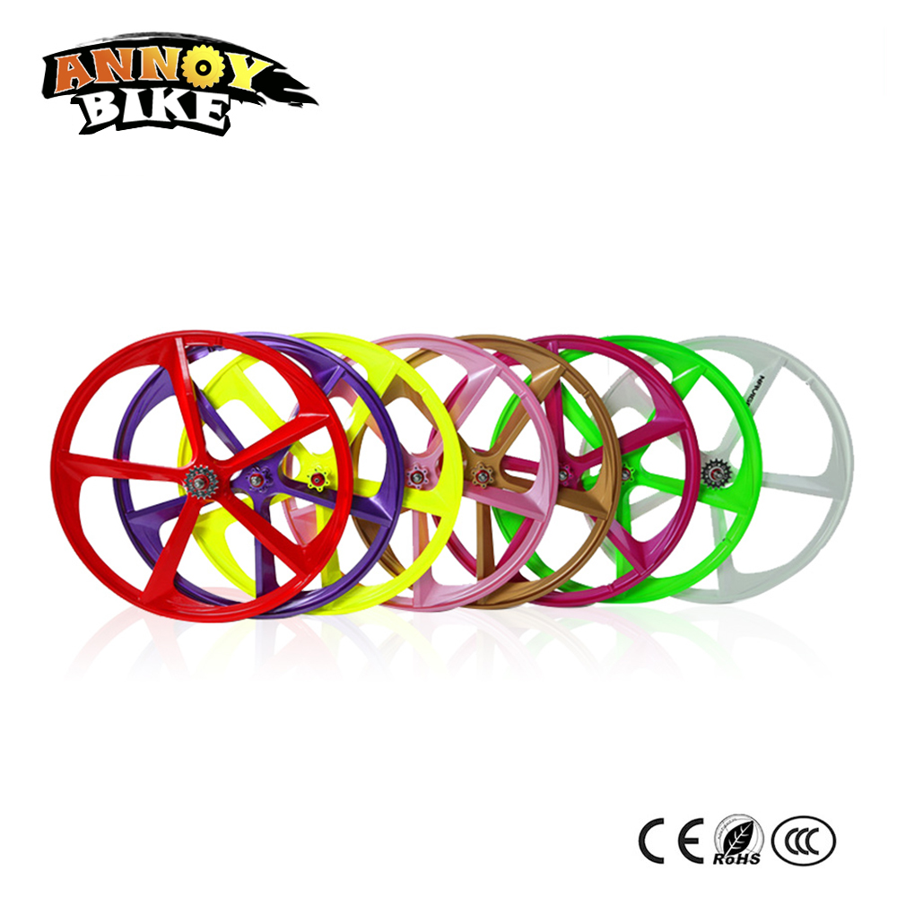 Easy Installation 700c Magnesium Alloy wheel 5 Knife Gear Fixed Wheel Bicycle wheel bearings Integrated one Wheel 1set front and rear 700c road bike wheel bicycle magnesium alloy three spokes parts integrated wheel fixed gear single speed