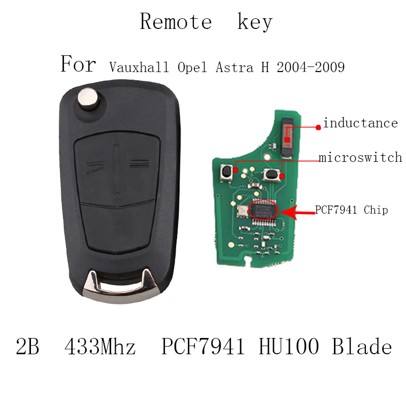 Remote Key Fob 2 Button 433Mhz PCF7941 for Vauxhall Opel Astra H 2004 -2009 Car Key HU100 Blade free shipping 1 piece factory quality 2 button remote control car key 433mhz pcf7941 chip for opel vauxhall astra