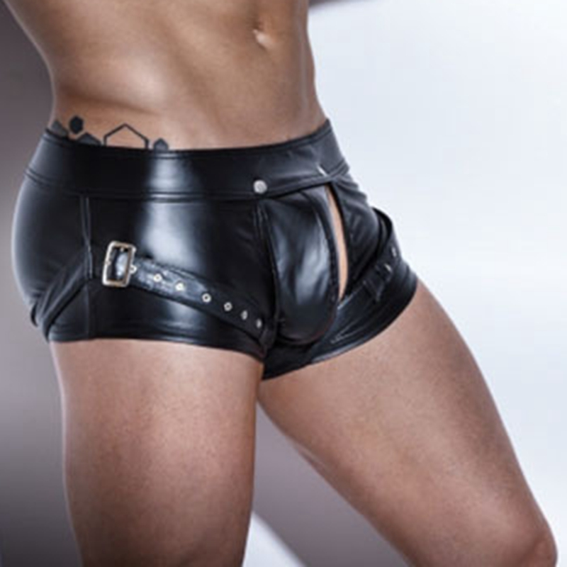 1551c8a46 2018 Sexy Underwear Men Black Patent Leather Boxers Shorts Man Capsule  Underpants Cuecas Calzoncillos ropa hombre