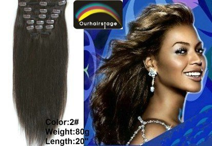 "20"" Clip in hair extention 100% human hair 80g #2 (1 set=7pcs)Free Shipping"