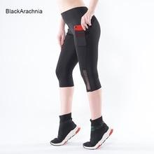 BlackArachnia Women New Fashion Yoga Shorts Workout High Waist Jogging With Pockets Gym For Female Black Mesh