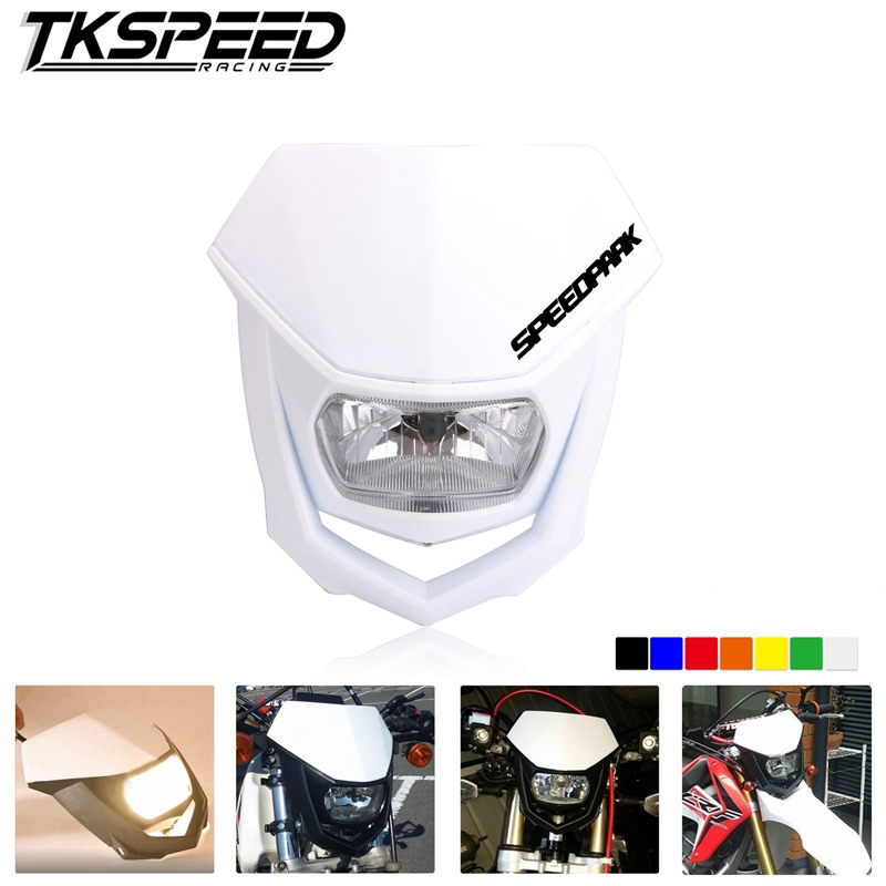 FREE SHIPPING H4 Headlight White Black Motorcycle Enduro Head Light Universal Headlamp Motocross Accessories Headlight Fairing