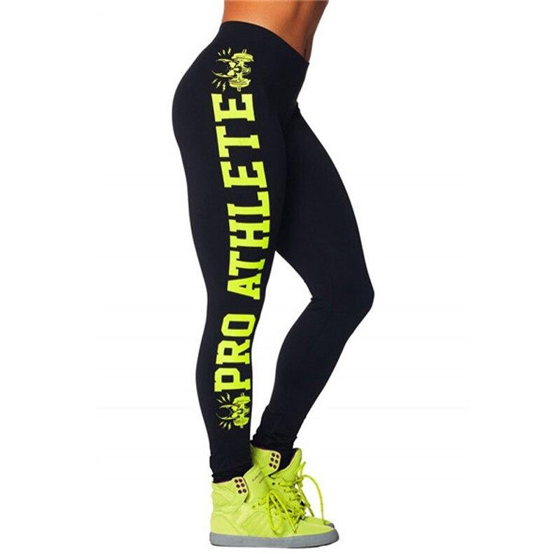 Brev Skriv ut Sporting Leggings Plus Storlek Hög Elastisk Bantning Dansbyxor Fitness Kvinna För Bodybuilding Aerobics Övning