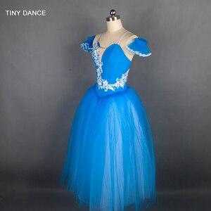 Image 4 - Özelleştirilmiş profesyonel bale dans Tutu deniz mavi uzun romantik tutuş balerin elbise kol bantları ile B18002