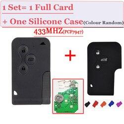 Excelente calidad reemplazo remoto 3 botón tarjeta inteligente pcf7947 chip 433 MHz para renault megane tarjeta con 1 funda de silicona gratis