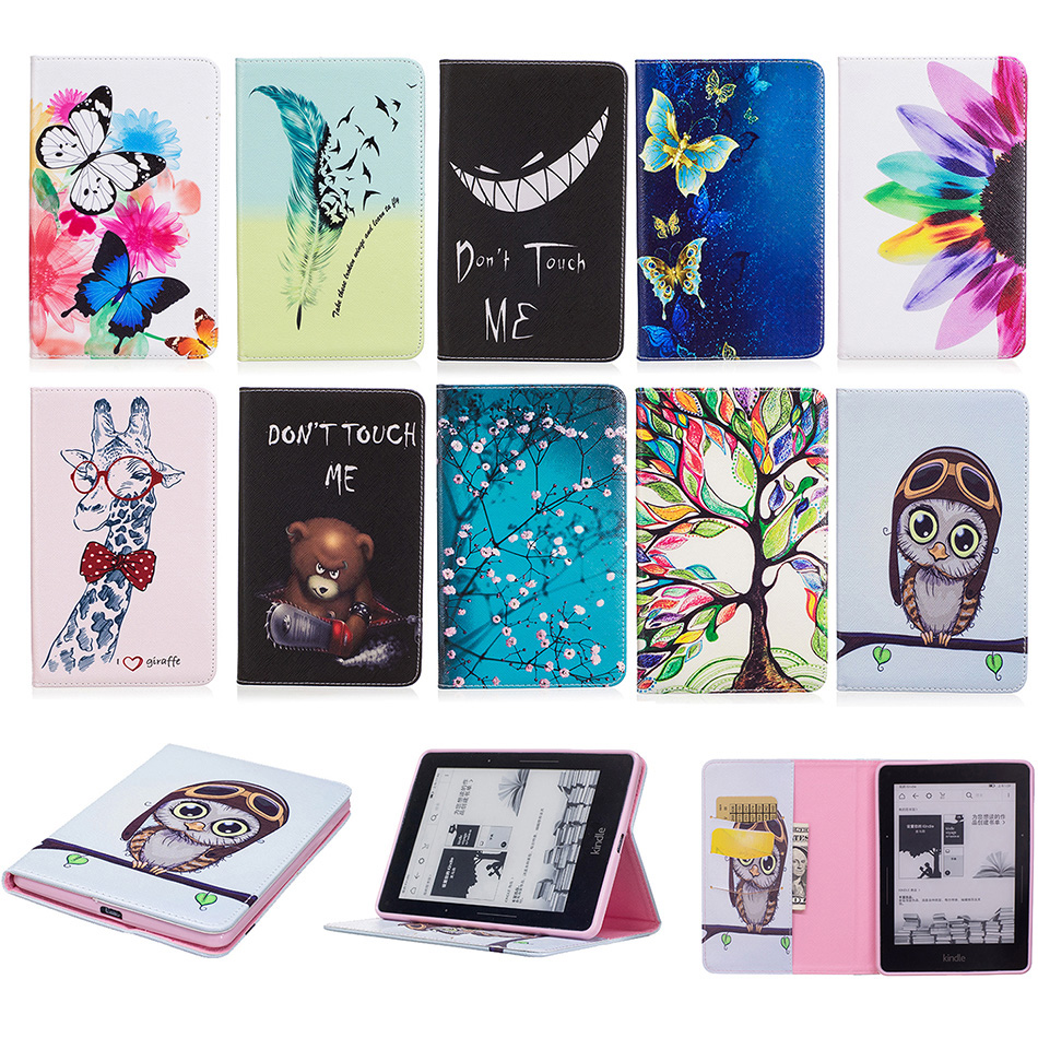 Fashion Flower Tree Pattern PU Leather Wallet Flip Case For Amazon Kindle Voyage 6 inch Ereader Ebook Protector Cover B120