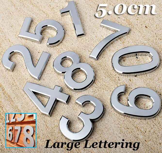 1PC Chrome House Door Car Address Number Digits Numeral Plate Plaque Sign Size Room Gate Badge Sticker Emblem letter lettering