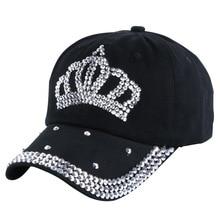 цена на wholesale 2016 new design beauty handmade rhinestone style women girl men boy luxury denim baseball cap brand snapback hats