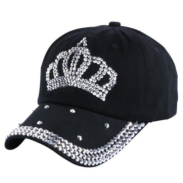 cheap promotion denim caps new fashion women girl men boy rhinestone crown  baseball cap woman hip cc3a23b21cff