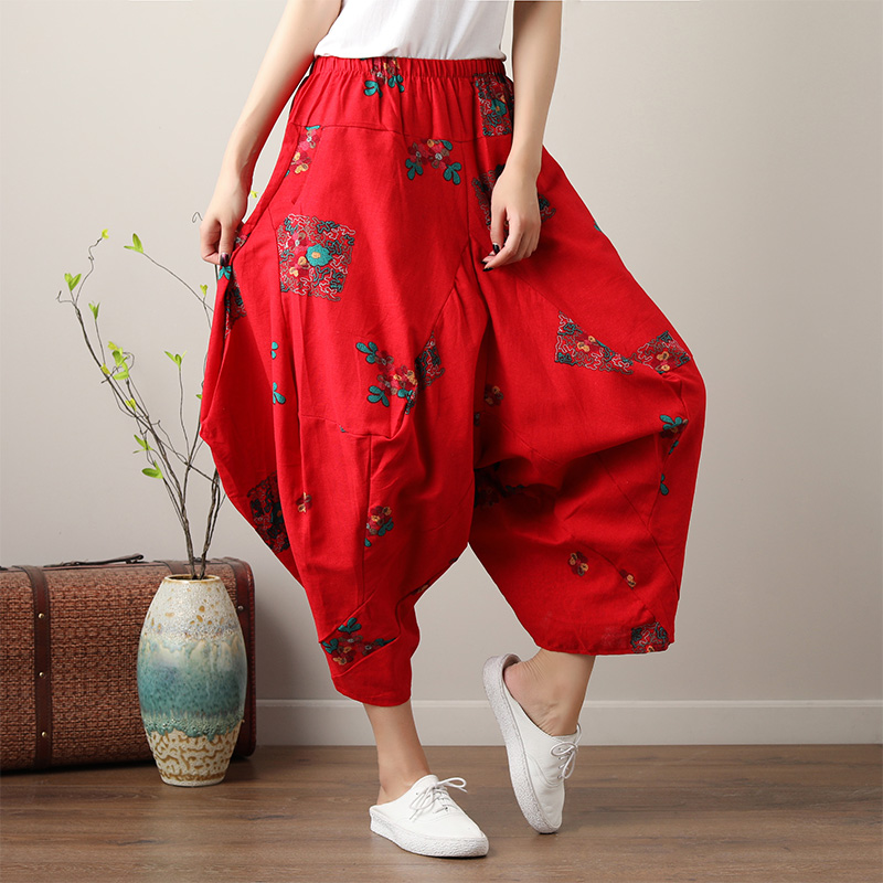 Blue,Red Flower Bloomers Trousers 2018 New Summer Women Cotton and Linen   Wide     Leg     Pants   Elastic Waist Loose Baggy   Pants