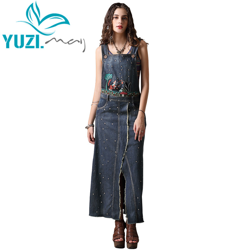 Summer Dress 2018 Yuzi may Boho New Denim Vestidos Sleeveless Slash Neck Vintage Embroidery Slit Sundress