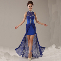 Women S Formal Evening 2016 Evening Dresses Straight Outside Lace Open Fork Halter Evening Gown