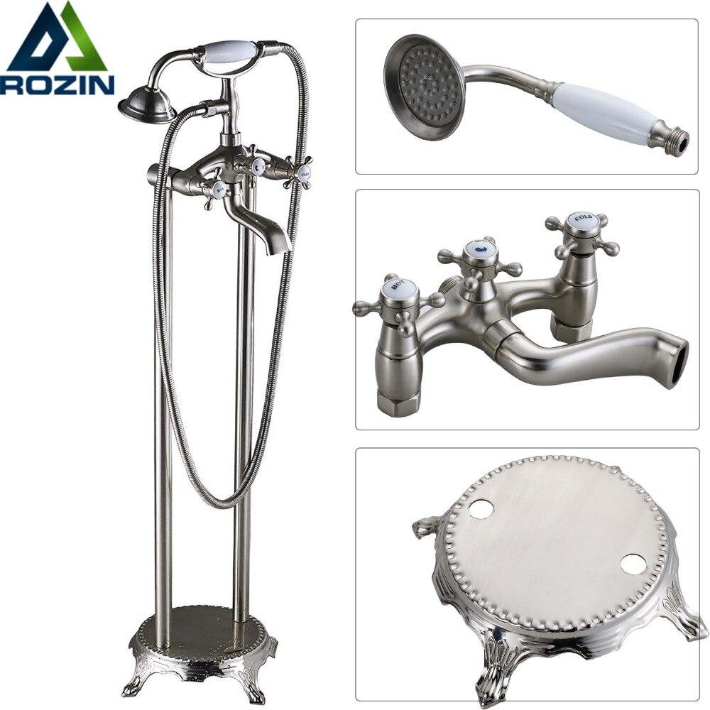 Free Standing Brushed Nickel Bathtub Faucet Dual Handle Floor Mounted Tub Sink Mixer Faucet Brass Bathroom