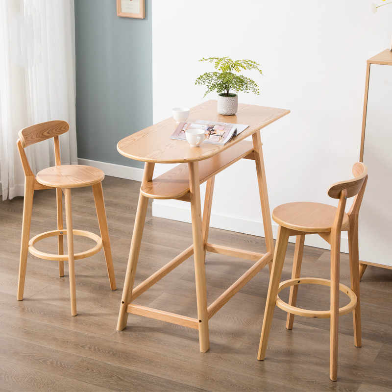 Marvelous Solid Wood Nordic Bar Chair Modern Minimalist Home Bar Stool Machost Co Dining Chair Design Ideas Machostcouk