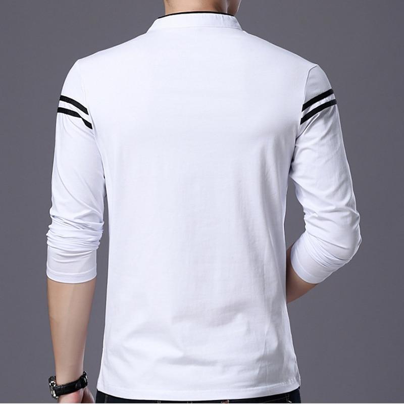 Liseaven Men T Shirt Man Long Sleeve tshirt Men's Clothing Mandarin Collar T-Shirts Tops & Tees Male Tshirts 2