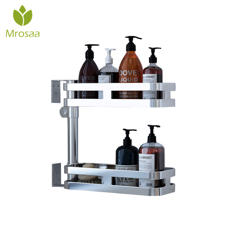 1 Pcs 180 Rotation Corner Shelf 3 Tiers Kitchen Bathroom Shelves 304 Stainless Steel Double Layers Corner Storage Holder Rack double celebration of finishing the cracks movable side refrigerator kitchen corner shelf plastic three shelves 1064