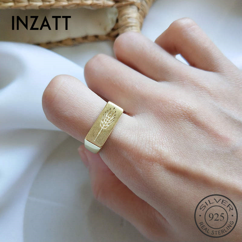 INZATT Real 925 Sterling Silver Minimalist Badge Rectangle Ring For Fashion Women Trendy Fine Jewelry Accessories 2019 Gift