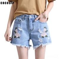 Embroidery Denim Shorts Floral High Waist Jeans Short Femme Frayed Shorts For Women Summer shorts Fashion 2018
