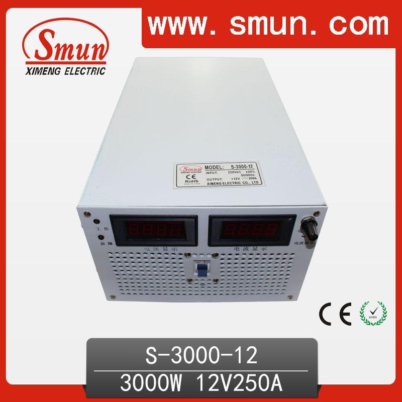 SMUN 3000 W 12 V 250A Única Saída AC/DC Modo de Comutação da fonte de Alimentação SMPS Para o Sistema de Controle Industrial e Carregador