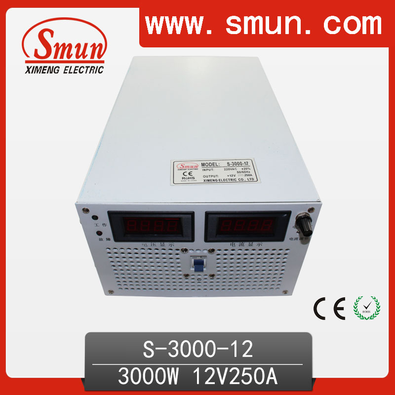 SMUN 3000W 12V 250A Single Output AC/DC Switching Mode Power Supply SMPS For Industrial Control System And Charger