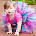 Venta caliente Falda de Las Muchachas Del Arco Iris Tutu Falda Para El Bebé Cumpleaños de la Foto Apoyos de la Danza del Arco Iris NB-2T Boda del Tema de Ropa de Bebé
