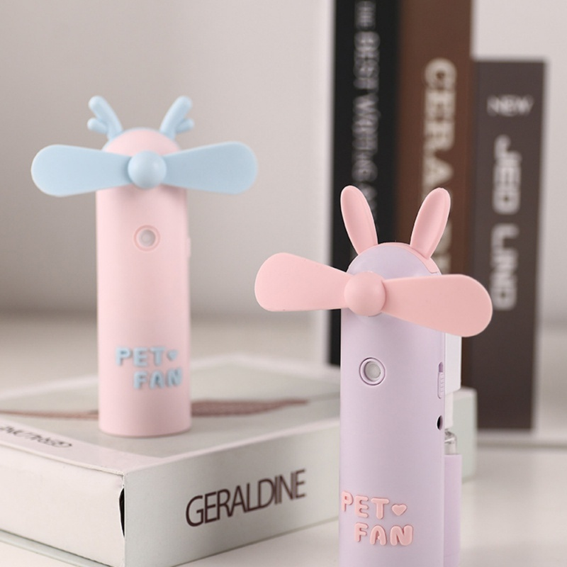 1 Pc USB Mini Fan With Water Spray Bottle Cute Cartoon Handheld Small Fan For Office Desktop Water Cans     - title=