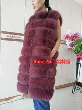 2019 fox fur vest horizontal stripe medium-long female luxury full leather fur coat long paragraph ultra