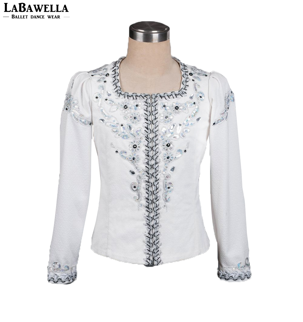 white silver professional ballet stage tops costume men's performance outwear male ballet man ballet jacket competition BM0005