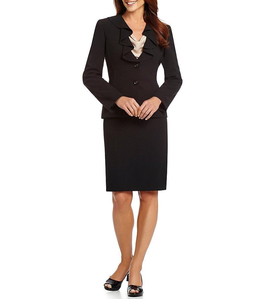 Custom Made Black Falbala Neck 2 Button Womens Skirt Suits Womens Sets Blazer Suits Formal Suits 2 Piece Jacket/skirt W02 Underwear & Sleepwears Men's Sleep & Lounge